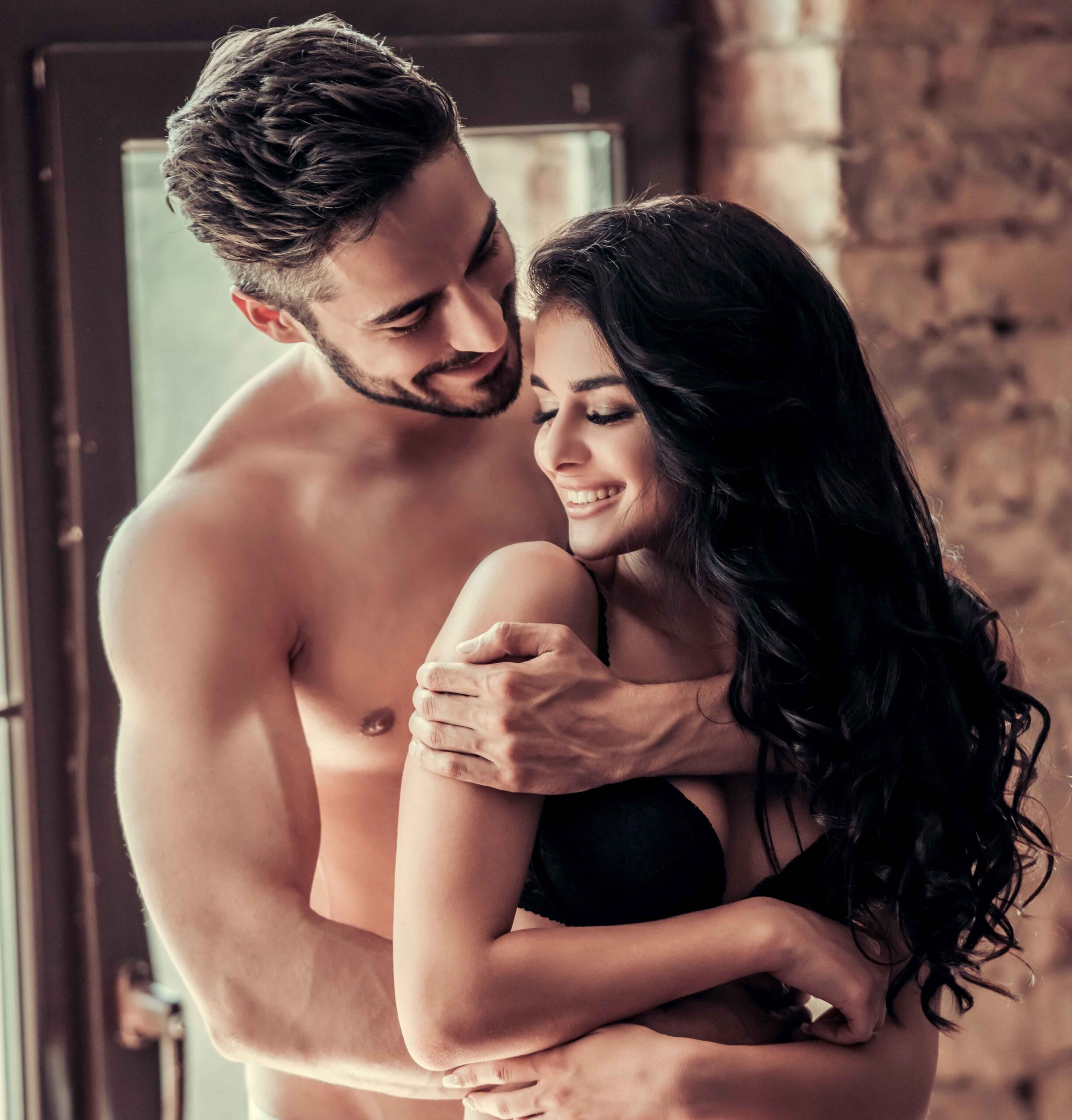 Sexy Girl With Closed Eyes Hugging Man Isolated On Black Together, Embrace